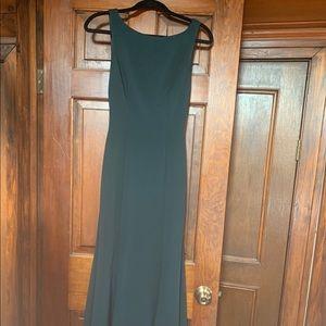 BHLDN emerald green floor length gown
